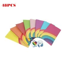 -Rainbow Pattern Square Bottom Food Packaging Bag Oil-proof Paper Bag 48pcs/bag on JD