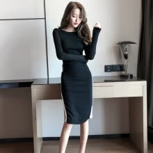 -Women Elegant Sexy Dress Long Sleeve Slim Fit Split Solid Color Bodycon Vintage Night Club Party Pencil Dresses Vestidos on JD