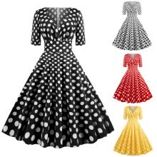-Fashion Women V-Neck Dot Print Draped Vintage Party Evening Ball Gown Dress on JD