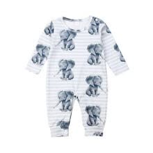 -Newborn Baby Toddler Elephant Cute Animal Print One-Piece Organic Cotton Footless Pajamas Bodysuit Romper Outfit for Infants B on JD