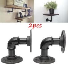 tableware-drinkware-2Pcs Vintage Country Pipe Shelf Bracket Holder Mounted Industrial Steampunk on JD