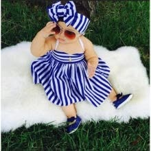 -Toddler Baby Girls Fashion Princess Party Tutu Summer Navy Blue Striped Dress Age For 1-5 Years on JD