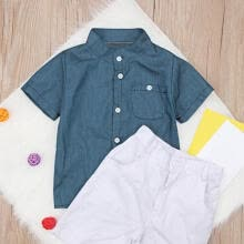 -Baby Boys Gentleman Outfits Short Sleeve Shirt Shorts Summer Suit (1-2Y) on JD