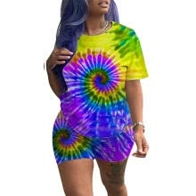two-piece-suit-Women´s Outfits 2 Piece Set Summer Casual Color Tie Dye Short Sleeve T-shirt + Shorts Set Sports Suit on JD