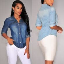 software-Spring Women Blue Jean Blouses Soft Denim Long Sleeves Shirt Slim Tops on JD
