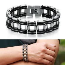 -Men's Silver Stainless Steel Black Rubber Motorcycle Biker Chain Link Bracelet New Arrival on JD