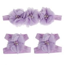 -Colorful Foot Flower Barefoot Sandals + Headband Set Baby Infants Girl PP on JD