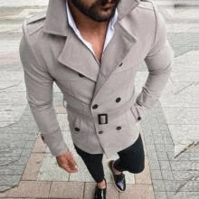 -Men Winter Wool Warm Trench Parka Reefer Jacket Double Breasted Peacoat Overcoat on JD