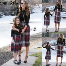 -Mother Daughter Matching Dresses Mommy and Me 3/4 Sleeve A Line Plaid Stitching Midi Dress on JD