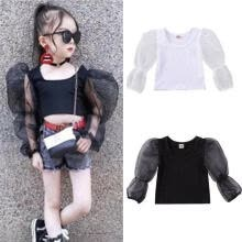-Fashion Toddler Kids Baby Girls Tops T-Shirt Sheer Long Puff Sleeve Tank Top Casual Shirt Solid Color Tee Summer Vest Clothes on JD