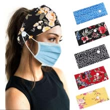belts-cummerbunds-Printed Hairband With Button Face Holder Wearing Protect Ears Head Wrap Headband on JD