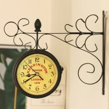 -Classic Double-sided Outdoor Garden Paddington Station Wall Clock Iron Frame on JD