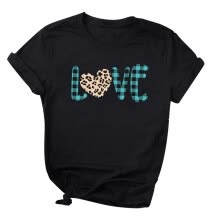 -Women's Love Leopard Printed Round Neck Short Sleeve T-shirts Tops Blouse on JD