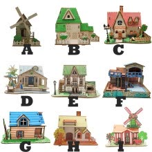 -3D Wooden Puzzle DIY Building Model Dollhouse Style House Jigsaw Puzzle Kid Toys on JD