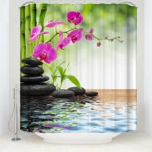 -1 Digital Printed Polyester Bamboo Shower Curtain Natural Bathroom Waterproof Shower Curtain Garden Theme Decoration on JD