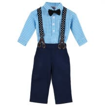 -Handsome Baby Toddler Kids Boy Plaid Tops+Suspender Pants Wedding Party Outfits Suit 2pcs Fit For 0-24M S2 on JD