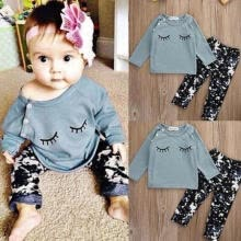 -2pcs Newborn Baby Girls Floral Outfits T-shirt Tops Long Pants Leggings Clothes on JD
