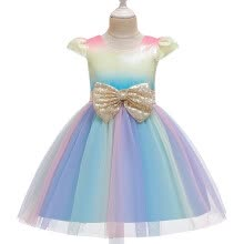 -Kids Girls Sequin Princess Bridesmaid Pageant Gown Birthday Party Wedding Dress on JD