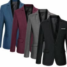 -Mens Formal Suit Blazer Coat Business Casual One Button Slim Fit Jacket Caot on JD