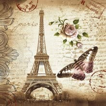 -Paris Shower Curtains Bathroom Mildewproof Polyester Butterfly & Rose & Eiffel Tower Curtains Waterproof Fabric with Hooks on JD