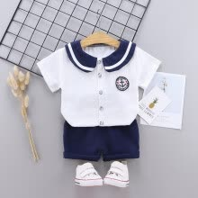 -Boys Summer Navy collar Characteristic ClothesTemperament Goddess Suit English Polka Dot Short Sleeve Shorts Set on JD