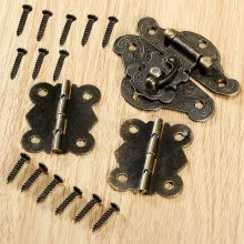 -Antique Butterfly Hinges Latch Iron Hasp Vintage Kit Jewelry Box Furniture Decor on JD