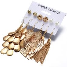 -6 Pairs/Sets Vintage Gold Color Leaves Long Tassel Simulated Pearl Stud Earrings Set For Women New Brincos Jewelry on JD