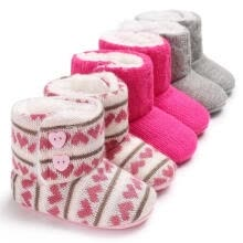 -Fashion Winter Warm Baby Little Girls Crochet Knit Woolen Soft Newborn Snow Shoes Boots on JD