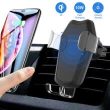 -Wireless Car Charger  10W 7.5W Qi Fast Charging Gravity Air Vent Phone Mount Holder For IPhone Samsung on JD