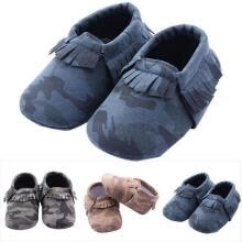 -Cute Infant Toddler Baby Fringe Camouflage Tassel Soft Soled Moccasin Crib Shoes on JD