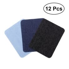 -12pcs Iron On Patches Sweaters Shirt Elbows Knee Patch Jean Denim Patches (Black + Dark Blue + Light Blue) on JD