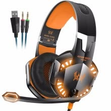 -Wired Stereo Gaming Headset Deep Bass Computer Game Headphones Earphone with LED Light Microphone for PC Laptop PS4 on JD