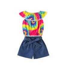 -Siaonvr Toddler Baby Girls Tassels Rainbow Tie-Dyed Tops+Denim Shorts Outfits on JD