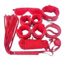 adult-games-Red 7-piece restraint chain restraint cuff strap whip rope neck adult sex toy SM suit on JD