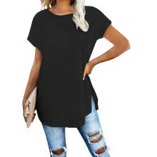 -Women's Solid Round Neck Off Shoulder Front And Back Split T-shirt on JD