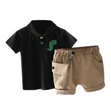 -Boy's Two-piece Suit, Cute Cartoon Print Short Sleeve Polo Shirt and Shorts on JD