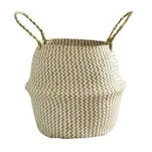 -Foldable Staw Storage Basket Folding Wicker Rattan Seagrass Sundries Garden Flower Pot Planter Laundry Clothing Basket Decor on JD