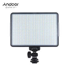 -Andoer W500 Professional Dimmable LED Video Light Fill Light 3200K/5600K Bi-Color Temperature 32W CRI90+ for Portrait Wedding Phot on JD