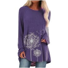 -Women Long Sleeves Floral Casual Shirts Solid O-Neck Pullover Loose Tunic Top Purple A XXXXL on JD
