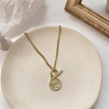 -Retro Style Character Avatar Coin Pendant Necklace Simple Classic Gold Alloy Round Necklace Fashion Jewelry For Women And Men on JD