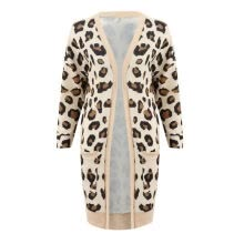 -Fashion Sexy Leopard Printed Cardigan Women Long Sleeve Pockets Cardigan Jacket Women Autumn Casual Slim Cardigan Coat on JD