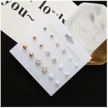-New Fashion 9pairs/lot Simple Design Stud Earrings For Women Daily Jewelry Accessories 2018 Women Earrings Wholesale on JD