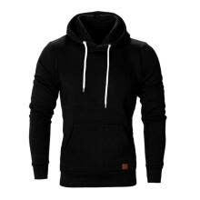 -Men Clothes Solid Color Pullover Male Casual Hoodies Sweatshirt (Black XL) on JD
