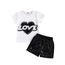 -Summer Girls Sets Love Letter Sequined Short Sleeve T Shirts and Shorts on JD
