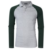 -Men's Two Tone Color Blocked Modern Fit Long Sleeve Polo Shirt Color:Gray with green sleeves Size:2XL on JD
