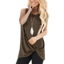 -Women Casual Solid Color Round Neck T-shirt Sleeveless Tops Vest on JD