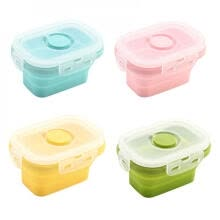 -YDF-Kitchen Silicone Collapsible Lunch Box Food Storage Container Bento Microwavable Portable Picnic Camping Rectangle Outdoor Box on JD