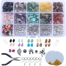 -Chips Stones Set DIY 15 Grid Assorted Color Beads Rock Beads Earring Making Kit on JD