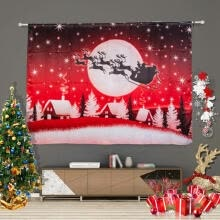-Christmas Curtains Santa Clause Snowman Reindeer Printed Window Curtains for Living Room Bedroom Polyester Shower Curtain on JD