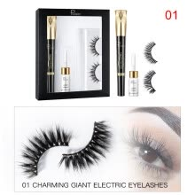 -4D Natural Long Curly False Eyelashes Set Mascara+False Eyelashes+Glue Set Cosmetic Makeup Tools New on JD